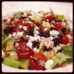 Glazed Pecan, Dried Cherry, and Feta Cheese Salad With Raspberry Dressing
