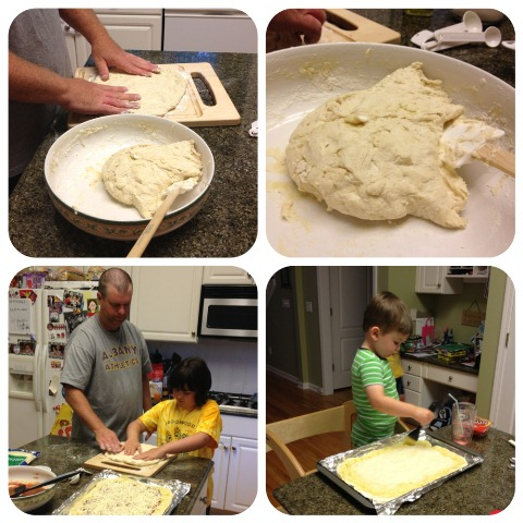 easy homemade pizza dough dad starts from scratch in the kitchen