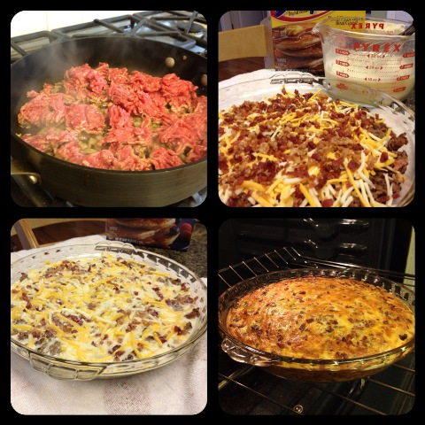 Spread ground beef in pie plate. Sprinkle with cheese.