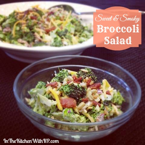 Sweet and Smoky Broccoli Salad #Recipe www.InTheKitchenWithKP