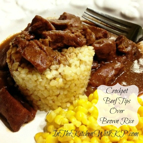 crockpot beef tips over baked brown rice