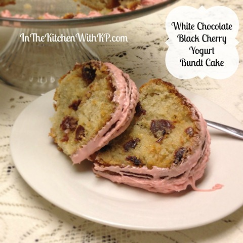 White Chocolate Black Cherry Yogurt Bundt Cake #BundtAMonth