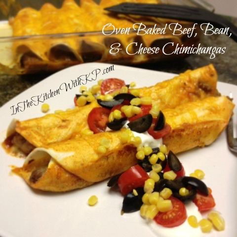 Oven Baked Beef, Bean and Cheese Chimichangas 1