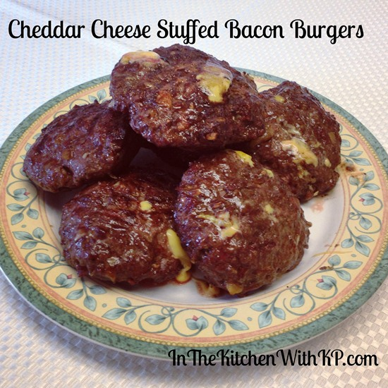 Cheddar Cheese Stuffed Bacon Burgers 4