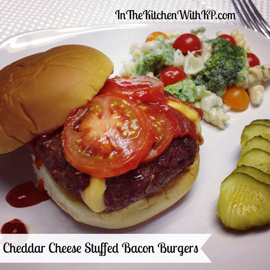 Cheddar Cheese Stuffed Bacon Burgers