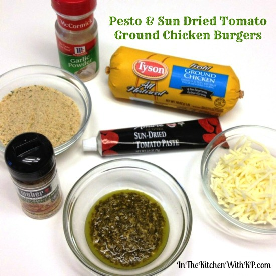 #ad Pesto and Sun Dried Tomato Ground Chicken Burgers #CreateAMeal #Cbias 2