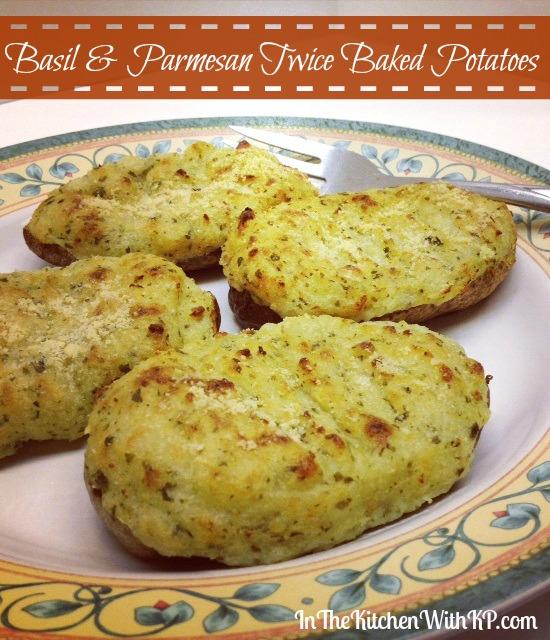 Basil Parmesan Twice Baked Potatoes (www.InTheKitchenWithKP.com)