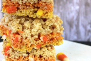 Festively Fall Candy Corn Rice Krispies Treats