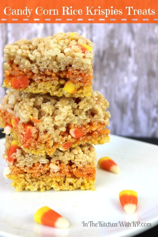 Candy Corn Rice Krispies Treats #Recipe www.InTheKitchenWithKP 3