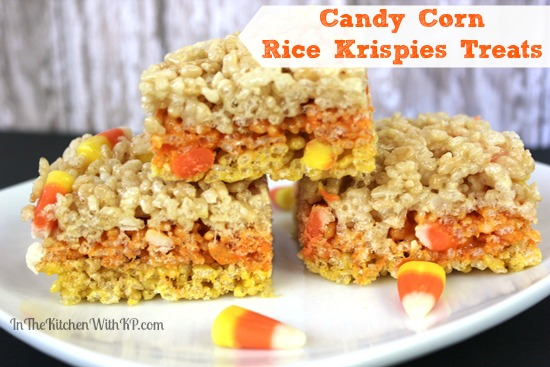 Candy Corn Rice Krispies Treats #Recipe www.InTheKitchenWithKP 4