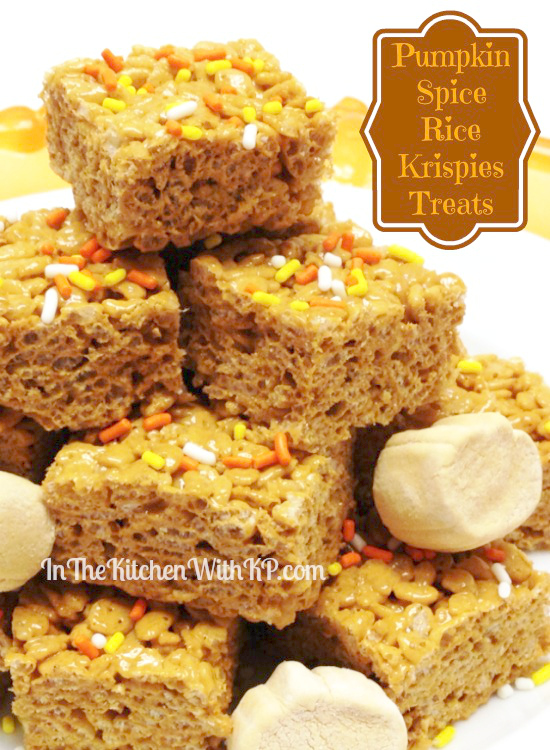 Pumpkin Spice Rice Krispies Treats www.InTheKitchenWithKP 2