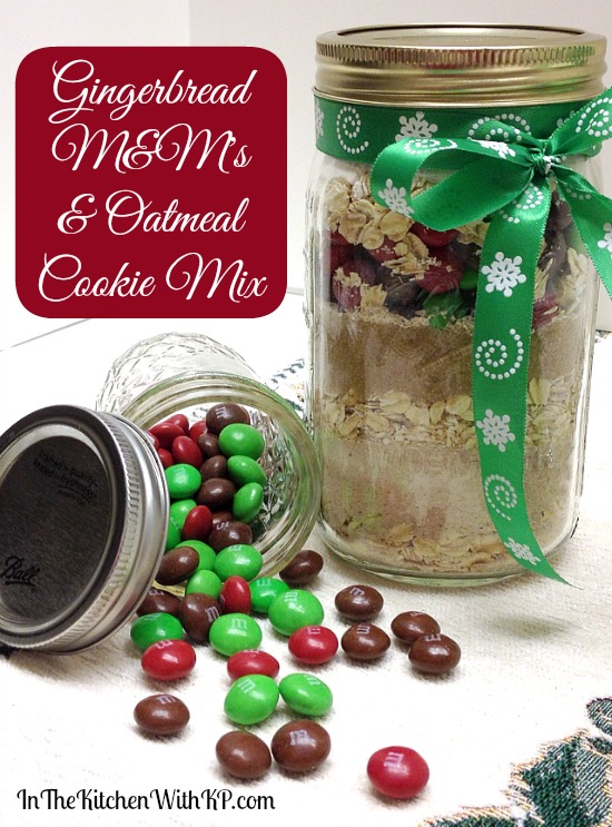Gingerbread M&Ms and Oatmeal Cookie Mix in a Jar #HolidayMM #shop 1