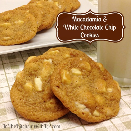 Macadamia and White Chocolate Chip Cookies #recipe www.InTheKitchenWithKP #CookieWeek 2
