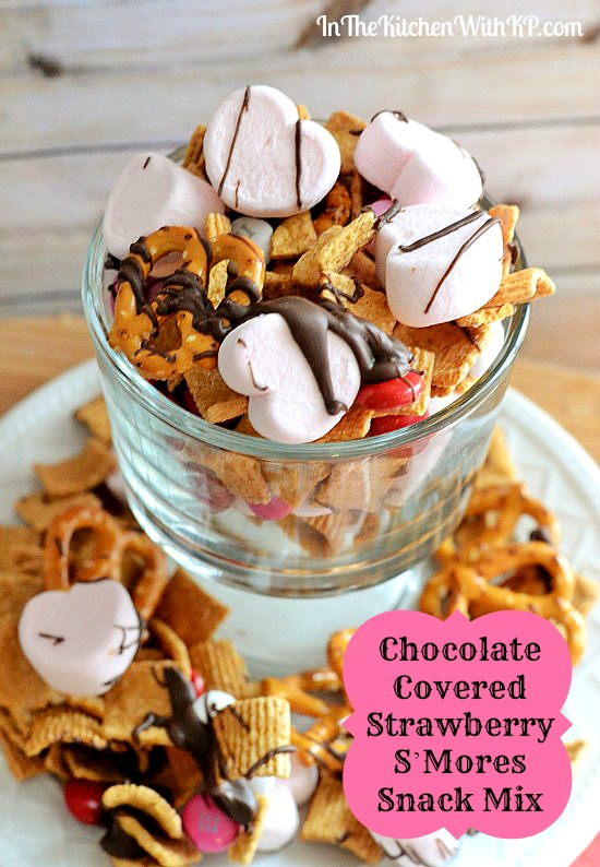 Chocolate Covered Strawberry SMores Snack Mix #recipe www.InTheKitchenWithKP 2