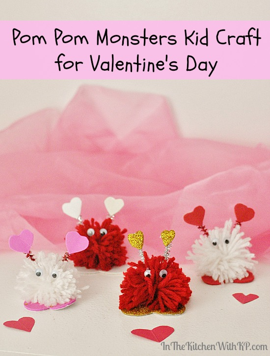 Pom Pom Monsters Kid Craft for Valentine's Day #craft www.InTheKitchenWithKP 9