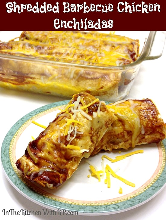 Shredded Barbecue Chicken Enchiladas #recipe www.InTheKitchenWithKP 2