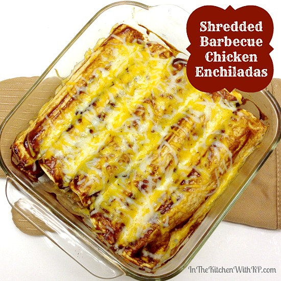 Shredded Barbecue Chicken Enchiladas #recipe www.InTheKitchenWithKP 6