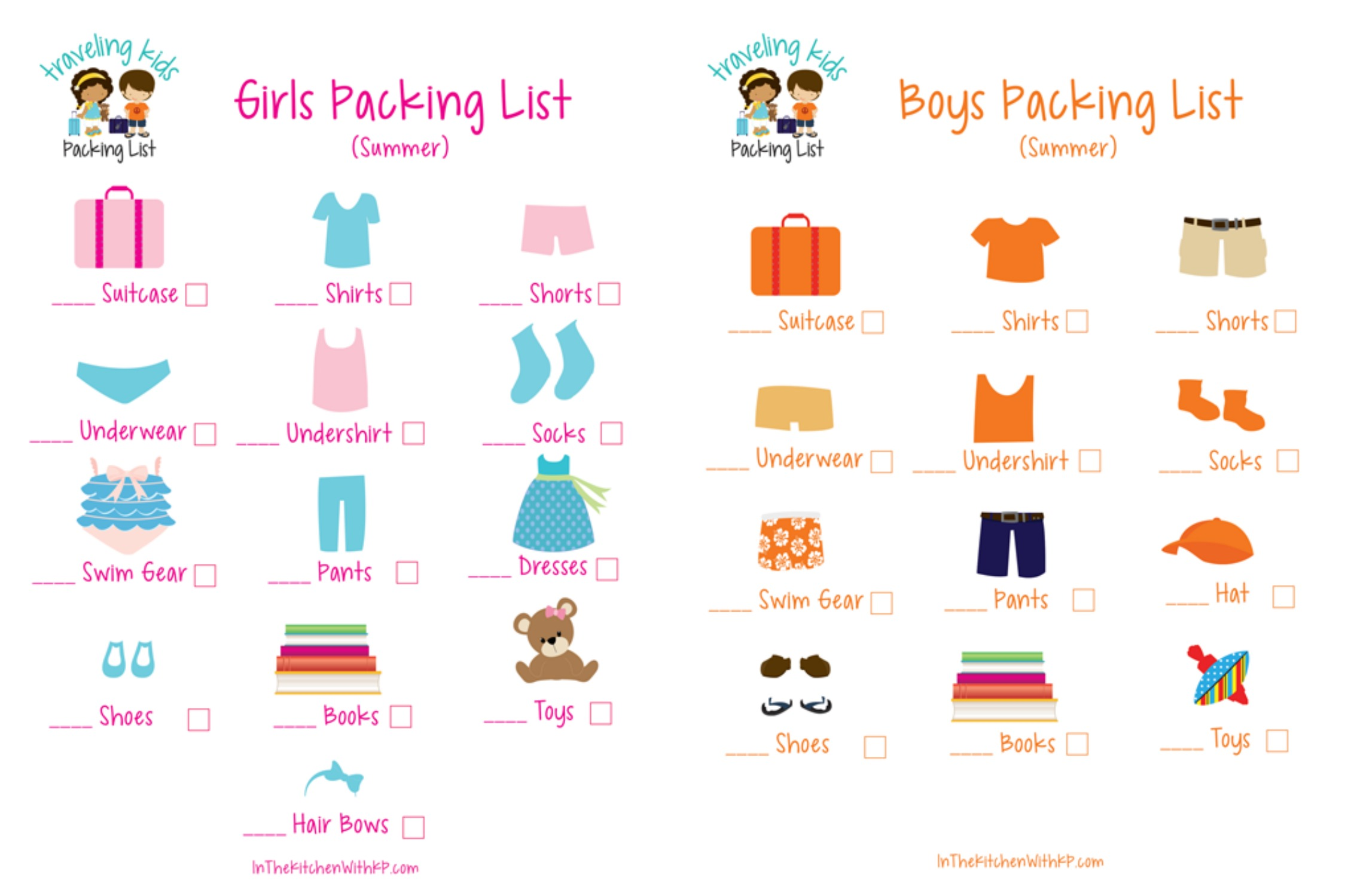 Printable Picture Packing List For Preschoolers