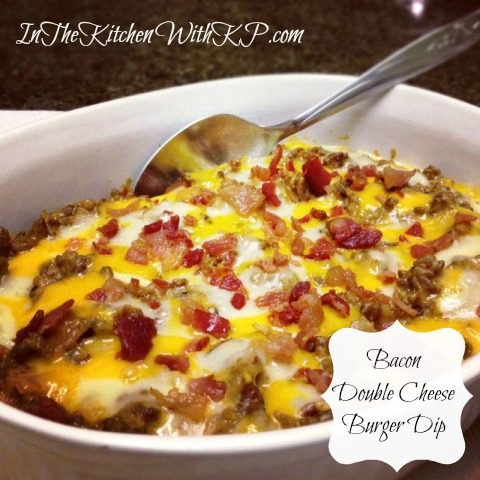 Bacon-Double-Cheese-Burger-Dip #recipe www.InTheKitchenWithKP