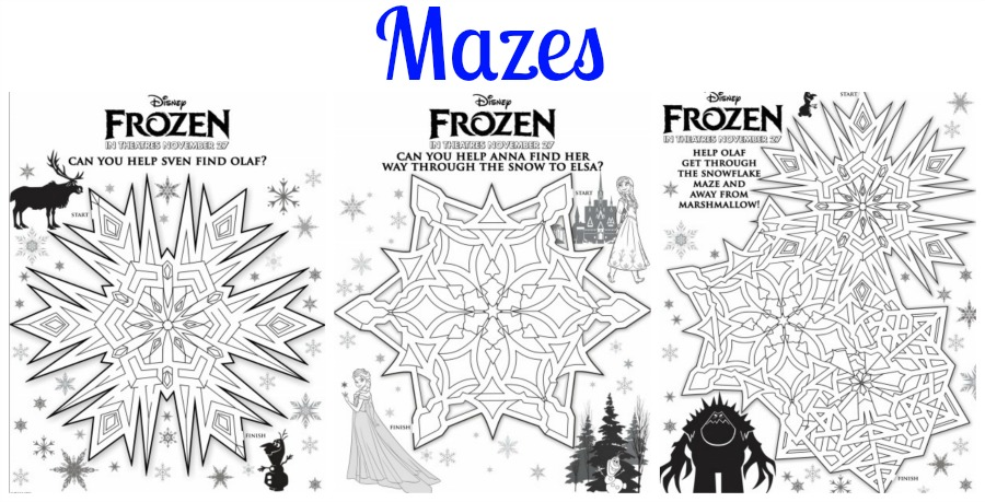 Frozen Activity Printables Mazes
