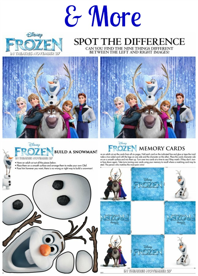 Frozen More Activity Printables