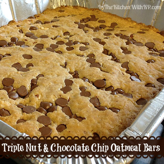 Triple Nut and Chocolate Chip Oatmeal Bars www.InTheKitchenWithKP #recipe #healthy 2