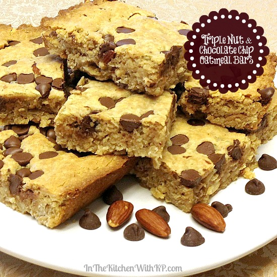 Triple Nut and Chocolate Chip Oatmeal Bars www.InTheKitchenWithKP #recipe #healthy 3