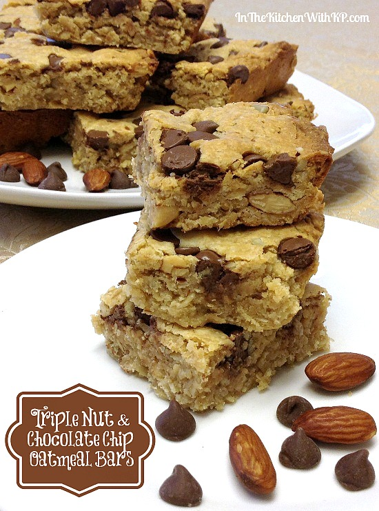 Triple Nut and Chocolate Chip Oatmeal Bars www.InTheKitchenWithKP #recipe #healthy