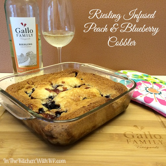 Riesling Infused Peach and Blueberry Cobbler www.InTheKitchenWithKP #recipe #SundaySupper 4