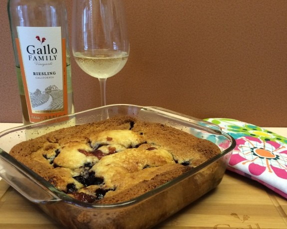 Riesling Infused Peach and Blueberry Cobbler www.InTheKitchenWithKP #recipe #SundaySupper slider