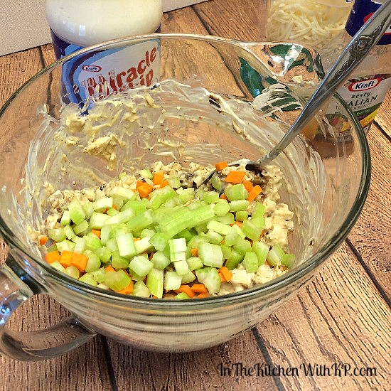 Zesty Italian Chicken Salad #RollIntoSavings #shop www.InTheKitchenWithKP #recipe #chicken 6