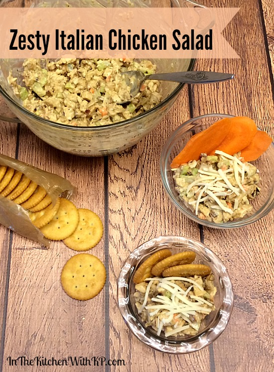 Zesty Italian Chicken Salad #RollIntoSavings #shop www.InTheKitchenWithKP #recipe #chicken