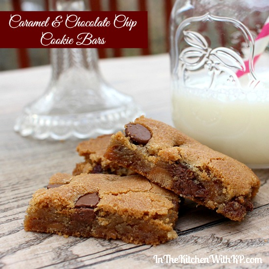 Caramel and Chocolate Chip Cookie Bars Recipe www.InTheKitchenWithKP 6