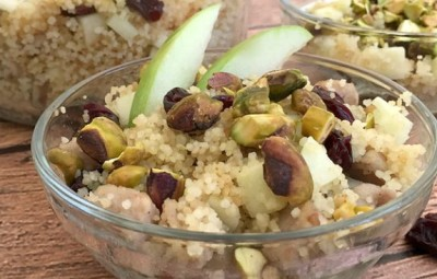 Cherry Apple Chicken Sausage Coucous www.InTheKitchenWithKP Side Dish Recipe slider