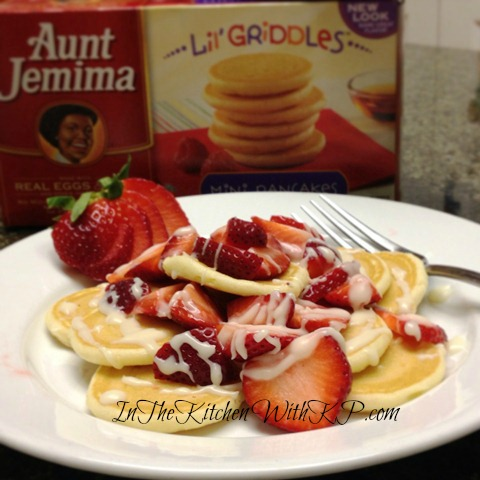 Pancakes With Strawberries and Creme Brulee Glaze #AJLilGriddlesCG 1