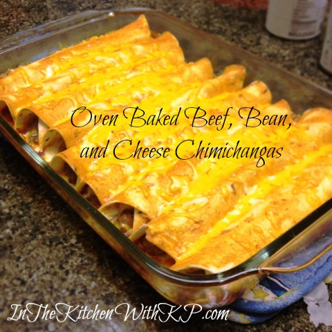 Oven Baked Beef, Bean, and Cheese Chimichangas 2