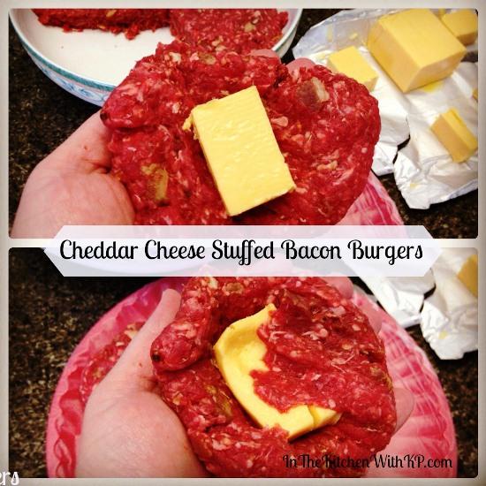 Cheddar Cheese Stuffed Bacon Burgers 1