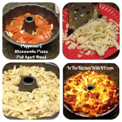 Pepperoni Mozzarella Pizza Pull Apart Bread