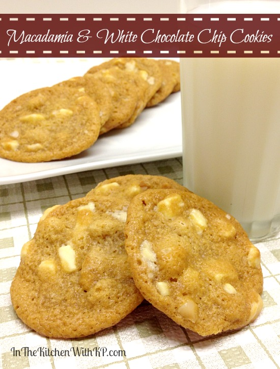 Macadamia and White Chocolate Chip Cookies #recipe www.InTheKitchenWithKP #CookieWeek
