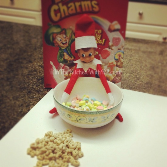 Elfie Eats Lucky Charms #ElfontheShelf www.InTheKitchenWithKP