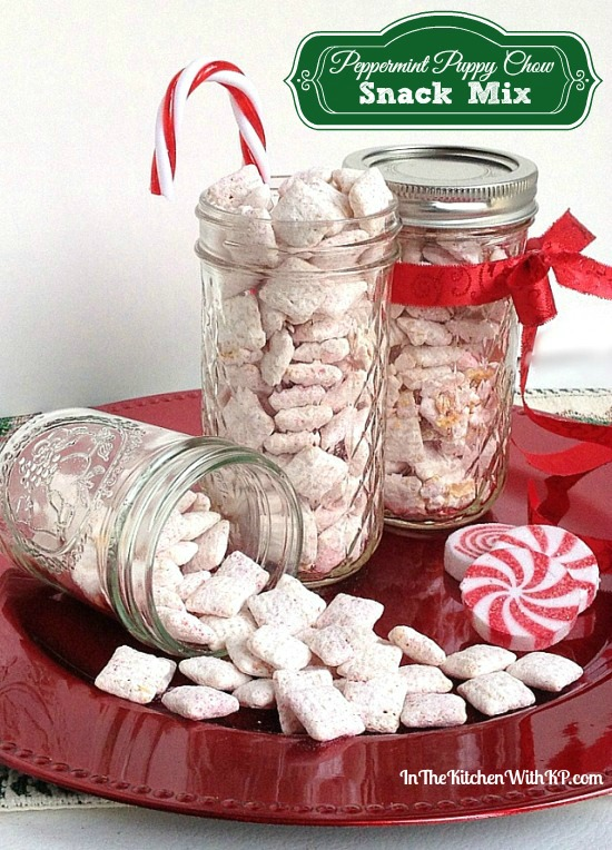 Peppermint Puppy Chow Snack Mix #recipe www.InTheKitchenWithKP