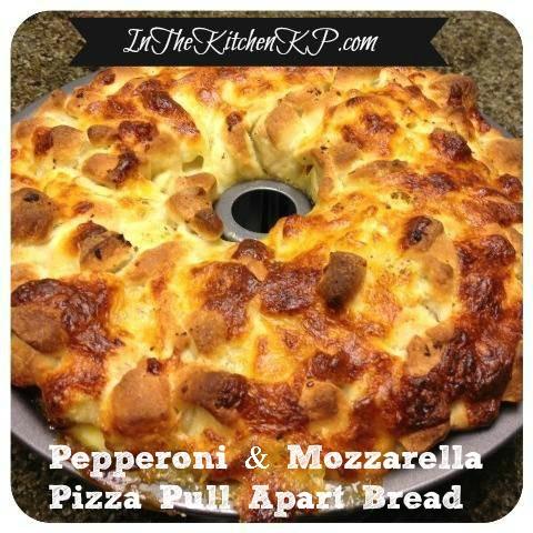 Pepperoni and Mozzarella Pizza Pull Apart Bread #recipe www.InTheKitchenWithKP