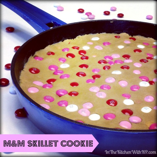 M&M Skillet Cookie #recipe #dessert www.InTheKitchenWithKP 2