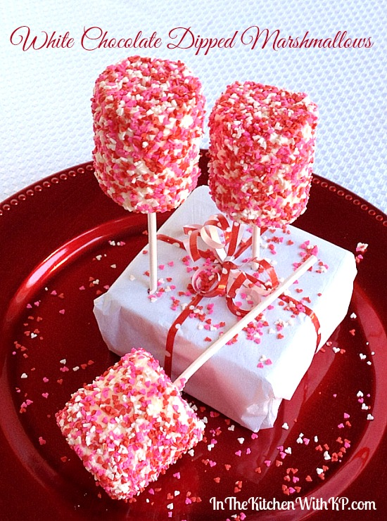 White Chocolate Dipped Marshmallows for a Valentine's Sweet Treat #recipe www.InTheKitchenWithKP 3