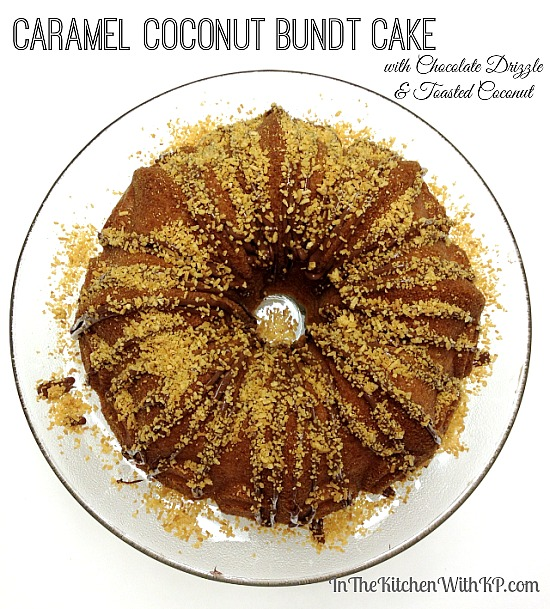 Caramel Coconut Bundt Cake with Chocolate Drizzle #recipe www.InTheKitchenWithKP 4
