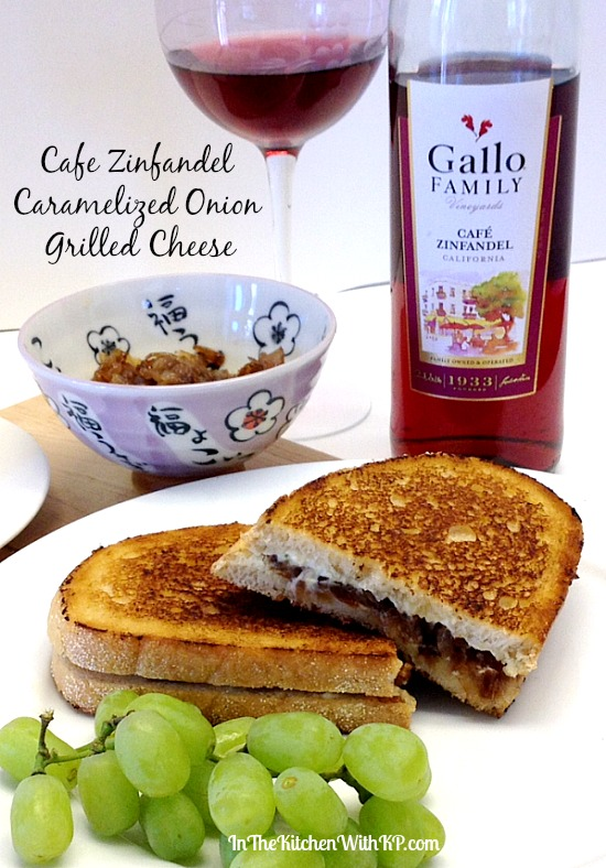Cafe Zinfandel Caramelized Onion Grilled Cheese #recipe www.InTheKitchenWithKP 1
