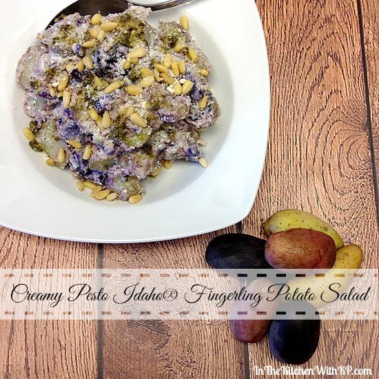 Creamy Pesto Idaho Fingerling Potato Salad #SundaySupper www.InTheKitchenWithKP #recipe