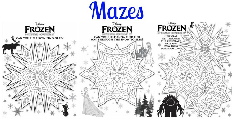 Frozen Activity Printables Mazes