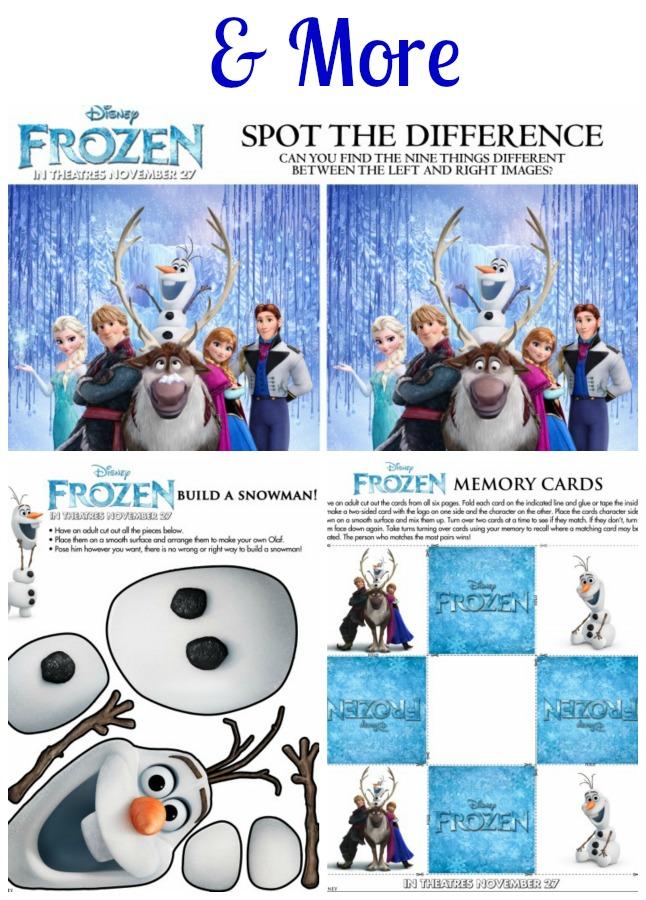 Frozen More Activity Printables
