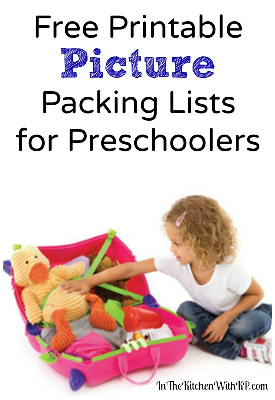 Printable Picture Packing List for Preschoolers www.InTheKitchenWithKP #travel #PackingList